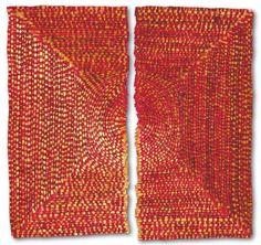 Olga de Amaral: Sol Rojo 2, 2012, fiber, gesso, and acrylic