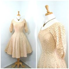 Vintage 1950s dress Exquisite Peach Lace by KMalinkaVintage