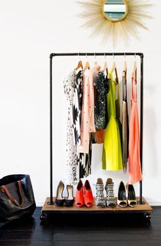Pin for Later: Tricks For Extending a Tiny Closet DIY This Rolling Rack Hang seasonal pieces, like your most prized Summer frocks, on this DIY rolling rack. Source: Sarah Sherman Samuel via Smitten Studio