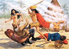 """""""Chief Caonabo massacres Columbus' men at La Navidad, Adam Hook Conquistador, Native American Tribes, American Indians, Native Americans, American Art, Aztecas Art, Puerto Rico History, Puerto Rican Culture, Aztec Warrior"""