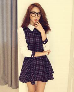 韓国ファッション DABgirl(ダバガール) ミニチェックシャツワンピース