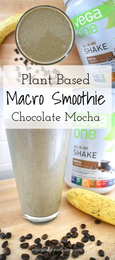 plant based macro smoothie to fit all your protein, carbs and fat needs. Nutrition smoothie with perfectly balanced macros! Not low carb. vegan protein. plant based protein. vega protein smoothie recipes. protein smoothie. protein shake. best plant based protein. counting macros. macronutrients, macro facts.