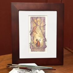 """""""The Heart Key"""" is framed and ready for a new home. Available tomorrow on Everyday Original at 11:45am EST. . . . . #foxdragon #monthoflove #art #instaartist #artoftheday #instaart #dailyarts #sketch_daily #creativity  #drawing  #sketchbook  #landscape  #fantasyart #watercolor #painting #lineart #naturelovers  #magic #fantasy  #watercolour #painting #originalart #sanfranciscoart  #oaklandartist #danielsmith"""