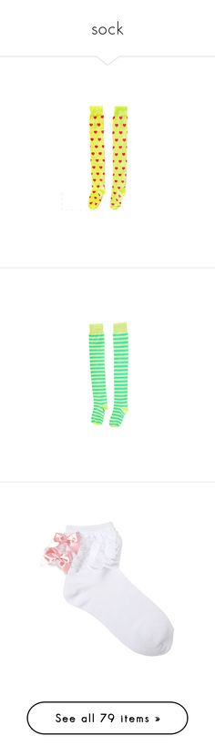 """sock"" by goodbyekittysholl ❤ liked on Polyvore featuring intimates, hosiery, socks, accessories, neon yellow socks, over the knee hosiery, heart socks, over knee socks, above the knee socks and bat"