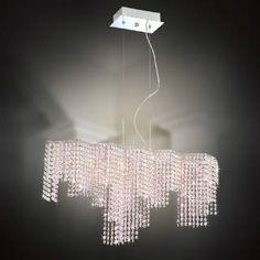 Check out the Eurofase 20334-048 Celestino 9 Light Down Lighting Pendant in Chrome/Pink