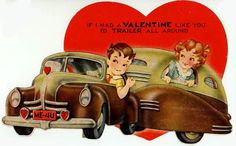 Vintage valentine with a cute trailer!