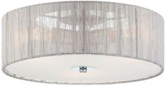 Possini Euro Sheer Silver Fabric 6 1/2-Inch-H Ceiling Light -