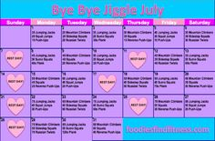 Bye Bye Jiggle July Challenge Calendar by foodiesfindfitness! 30 Day Fitness, Fitness Tips, Fitness Motivation, Health Fitness, Fitness Challenges, Fitness Goals, Bye Bye, July Workout Challenge, Workout Calendar