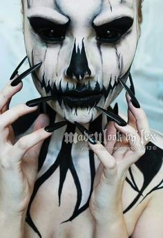 Where to Buy 2015 Inspired Black and White Halloween Nightmare Before Christmas Makeup - Scary Face Paint Body Paint