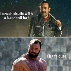 Negan scared me, but The Mountain is terrifying. Valar Dohaeris, Valar Morghulis, Game Of Throne Lustig, Game Of Thrones Meme, Game Of Thrones Merchandise, Walking Dead Funny, Winter Is Here, Book Tv, Superwholock