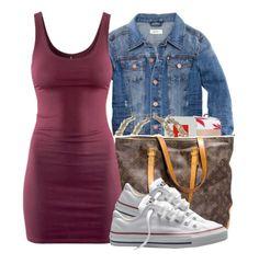 Cute idea , body con dress X converse X mini jean jacket ❤️