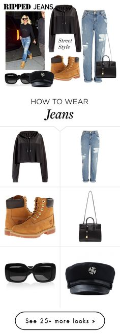"""""""Ripped Jeans-Street Style"""" by itsgirliecici on Polyvore featuring Timberland, River Island, Yves Saint Laurent, H&M and Bottega Veneta"""