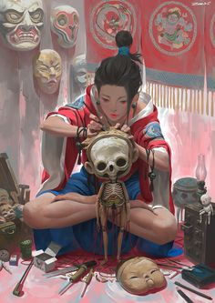 Zeen Chin is a self-taught artist based in Kuala Lumpur, Malaysia. Drawing upon a mysterious well of horror films, memories, and mysticism, his digital paintings are wildly elegant and unpredictable; scrolling from one image to … Character Concept, Character Art, Concept Art, Character Inspiration, Animation Character, Design Inspiration, Japon Illustration, Skull Illustration, Digital Illustration
