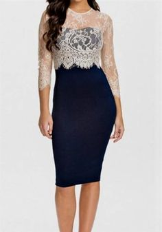 Nice blue lace dress with 3/4 sleeves 2017-2018