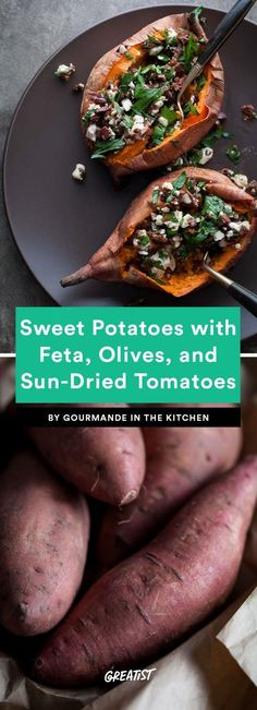 Baked Sweet Potatoes Stuffed With Feta, Olives, and Sun-Dried Tomatoes (Baking Sweet Dinners) Clean Recipes, Paleo Recipes, Healthy Dinner Recipes, Whole Food Recipes, Cooking Recipes, Lunch Recipes, Summer Recipes, Easy Weeknight Meals, Quick Meals