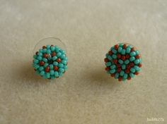 """Mosaico Earrings - The earrings were beaded with round Japanese 15/0 seed beads and upon the upper part of Maggie Meister's """"Simply seeds Mosaico Earrings"""" (Beadwork Magazine, June-July 2011, pp.74-75)."""