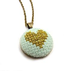 Heart Necklace in Mint and Gold Cross Stitch on Antique Brass Convertible Jewelry Chain