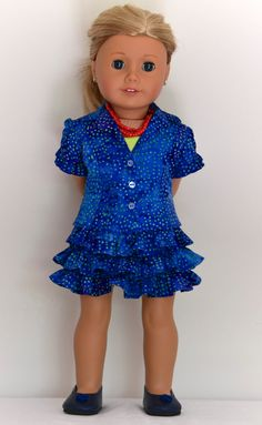 True blue Batik Skirt by Simply18Inches on Etsy. Made with the Liberty Jane Clothing Faraway Downs Dress pattern, found at http://www.pixiefaire.com/products/faraway-downs-dress-18-doll-clothes. #pixiefaire #libertyjane #farawaydownsdress