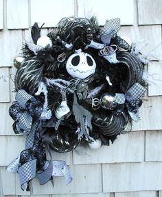 Halloween Wreath, Christmas Wreath, Nightmare Before Christmas Jack Skellington on Etsy, $65.00