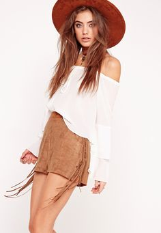 Missguided - Fringe Side Faux Suede Shorts Tan