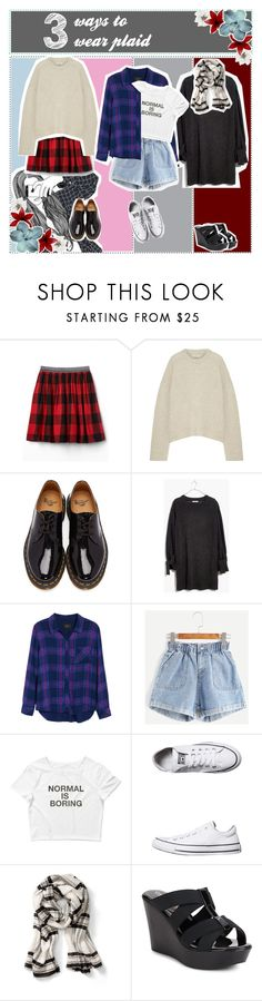 """""""♦ 3 ways to wear plaid"""" by phaedra-solaris ❤ liked on Polyvore featuring Totême, Dr. Martens, Madewell, Rails, Converse, Charles by Charles David, Alexis Bittar, plaid, 3waystowear and tipsbyphae"""
