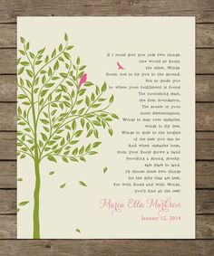 Baptism Gift from Godparents  Baby Girls by WordsWorkPrints