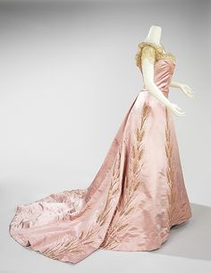 Dress (Ball Gown).  House of Worth  (French, 1858–1956).  Designer: Jean-Philippe Worth (French, 1856–1926). Date: 1900. Culture: French. Medium: silk, rhinestones. Dimensions: Length at CB (a): 20 in. (50.8 cm). Length at CB (b): 74 in. (188 cm).