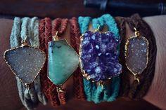 GEMSTONE Wrist Wraps  /// Boho /// Handcrafted 24K Gold Gemstone Layering Bracelet Wraps