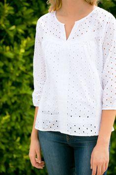 Santorini Eyelet Blouse Dress Me Up, Pink Dress, White Shirts, White Blouses, Dress Neck Designs, White Tops, Casual Wear, Fashion Outfits, Fashion Ideas