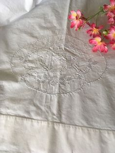 Vintage White Cotton Coverlet With Pulled Thread Work Monogrammed Jbd
