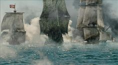 "FLYING DUTCHMAN (center) Pirates of the Caribbean: At World""s End  Heroes Will Turner and Elizabeth Swann are allied with C"
