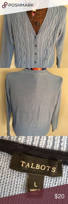 """Talbots  V-Neck Cardigan Cozy 100% cotton sweater with cable stitched front; back is plain. Wear year round. Perfect condition. 20"""" across bust, 24.5"""" long, 24"""" sleeve length. Washable. (Scarf not included.) Talbots Sweaters Cardigans"""