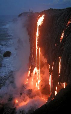 Lava pouring to the ocean