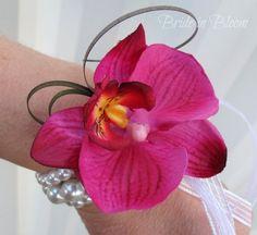 plum fuchsia and white wrist corsage - Google Search