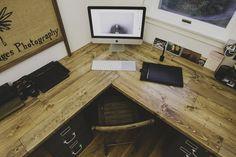 wooden corner desk top - have slide-out drawer for keyboard + mouse?
