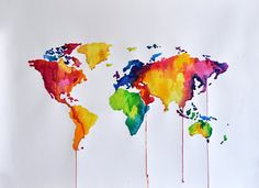 ORIGINAL Abstract Rainbow Colored World Map Watercolor Painting, Large Decorative Painting 20x28 Inch