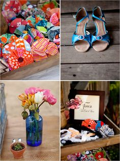 Love everything about this. Especially the Handmade fabric broaches as favors for guests. So cute.