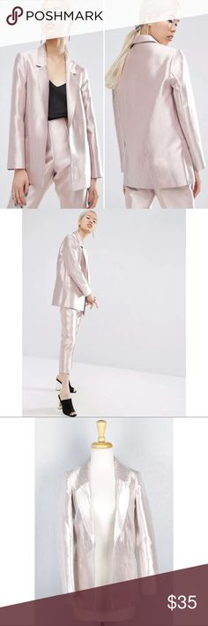 ASOS Ultimate Pink Structured Metallic Blazer ASOS Ultimate Pink Structured Metallic Blazer Women's Career Long Jacket Size 0  Pit to Pit: 17 Waist: 17 Length: 26  *All measurements were taken laying flat* ASOS Jackets & Coats Blazers