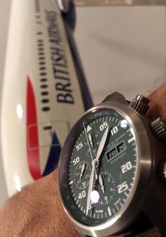 Amazing timepiece by Maurice de Mauriac with a British Airways model plane. Bespoke Swiss watches for men and women.