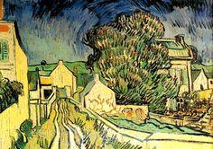 AUVERS ARBRES MAISONS GACHET  Une rue de terres, quelques maisons jaunes éclatant sous un rayon de soleil, un grand arbre vert, un ciel orageux