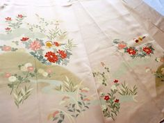 Japanese Vintage Kimono Silk Light Pink Duck Flower P052904 | eBay