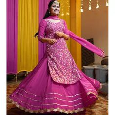 Pink heavy georgette fully embroidered party wear lehenga choli