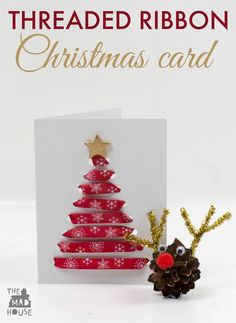Threaded Ribbon Christmas Cards. These simple Christmas cards are perfect for children of all ages to make and perfect for working on fine motor skills too
