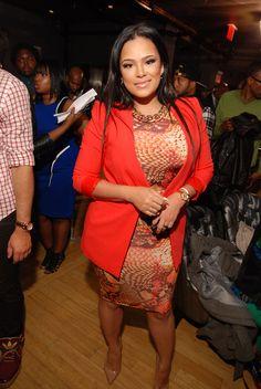 Steal: Emily B's Love and Hip Hop Atlanta Season 2 New York Premiere ASOS Oh My Love Snake Print Midi Dress and BCBG Max Azria Bright Poppy Andres Blazer