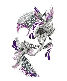 41 Inspiring and Mostly Black and White Tattoos to Inspire Your Next Ink Session . 41 and Mostly Black and White Tattoos to Inspire Your Next Ink Session . Inspiration Tattoos, Tatto Skull, Tattoo Feather, Tattoo Sugar Skulls, Pretty Skull Tattoos, Sugar Skull Sleeve, Floral Skull Tattoos, Sugar Skull Artwork, Feather Drawing