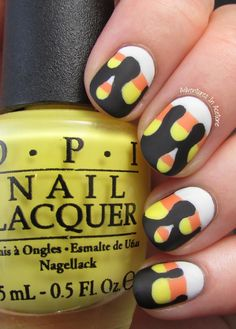 I have a really funky manicure to show you for Day 2 of Spooky Days with The Digit-al Dozen! It's not spooky, but fits in with Halloween and I really loved it… Drip Nails, Gel Nails, Manicure, Nail Polish, Chalkboard Nails, Cute Halloween Nails, Nail Time, Foundation Colors, Autumn Nails