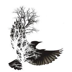 Gorgeous bird / tree tattoo idea for Poe quote Bild Tattoos, Love Tattoos, Beautiful Tattoos, Body Art Tattoos, Crow Tattoos, Tatoos, Phoenix Tattoos, Ear Tattoos, Incredible Tattoos