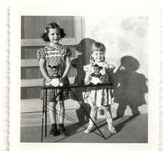 Vintage photo little girls with african American dolls rare 1940's