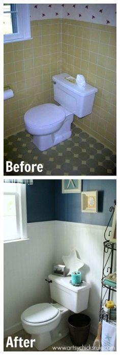 Guest Bath Makeover - Before and After - artyschicksrule.com #makeover #bath #diy