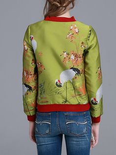 Mustard Printed Polyester Long Sleeve Bomber Jacket